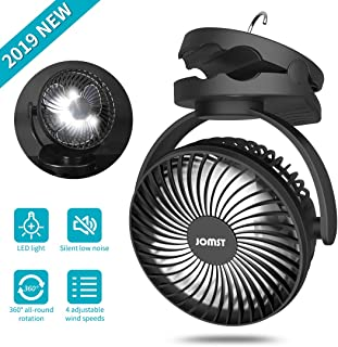 Jomst Portable Camping Fan LED Lantern, 4 Speeds Personal Silent Mini Desk Fan,USB Rechargeable 5000mAh Battery Operated Clip on Fan with Hook,Cooling Fan for Camping, Stroller, Office