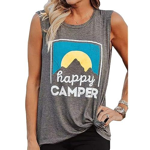 fae6b6757670f6 Women Tank Top Happy Camper Vest Sunrise Graphic Print Sleeveless T Shirt  Blouse