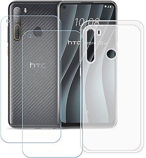 TTJ Genomskinligt skal för HTC Desire 20 Pro [2 stycken] HD pansarglas, mobiltelefonfodral silikon skyddande hölje TPU Cas...