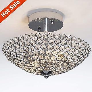 POPILION Elegant 2 light Bowl Shaped Chrome Finish Metal Crystal Chandelier ,Flush Mount Ceiling Light