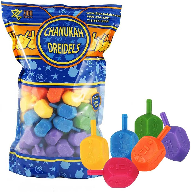 Zion Judaica 100 Medium Plastic Dreidels  Ziplock Bag