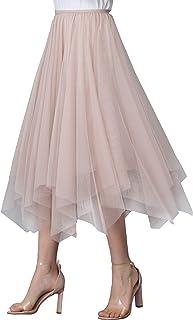 Falda de verano para mujer, tul Midi, falda plisada, cintura alta, elegante, elástica, cintura geométrica, dobladillo de 7...