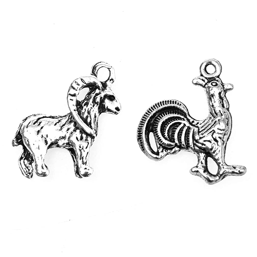 Monrocco 50PCS Antiqued Silver Alloy Animal Charms Pendants ?Rooster and Goat Charms Fit Bracelets Necklace DIY Metal Jewelry Making