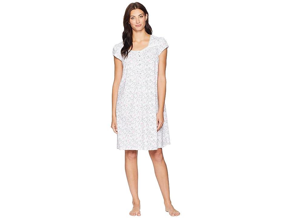 Eileen West Cotton Jersey Short Nightgown (White Ground/Multi Scroll) Women