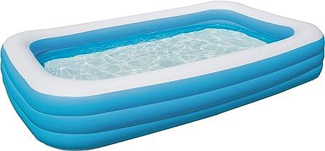 Bestway Family Pool Deluxe, Pool rechteckig für Kinder, leicht aufbaubar, blau, 305x183x56 cm