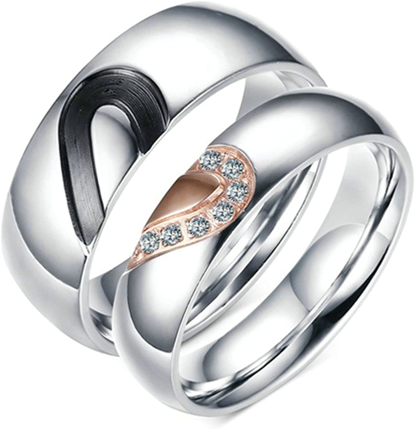 Daesar Stainless Steel Purchase Rings Engraved Ro Max 68% OFF Silver Heart Ring