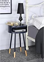 Major-Q Wooden Round End Table with Open Drawer for Living Room/Bedroom/Entryway/Hallway, Black 22 x 16 x 16
