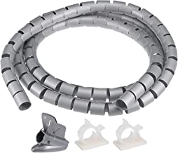 uxcell 20mm Cable Wire Wrap for Cord Management Gray 1.5 Meter with Zipper Clips