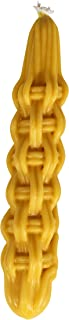 "Braided Beeswax Havdalah Candle - Thick Round Twist Braid - Hand Dipped Bees Wax Braided - 2"" by 11"" - Shabbat Judaica Gift - By Ner Mitzvah"