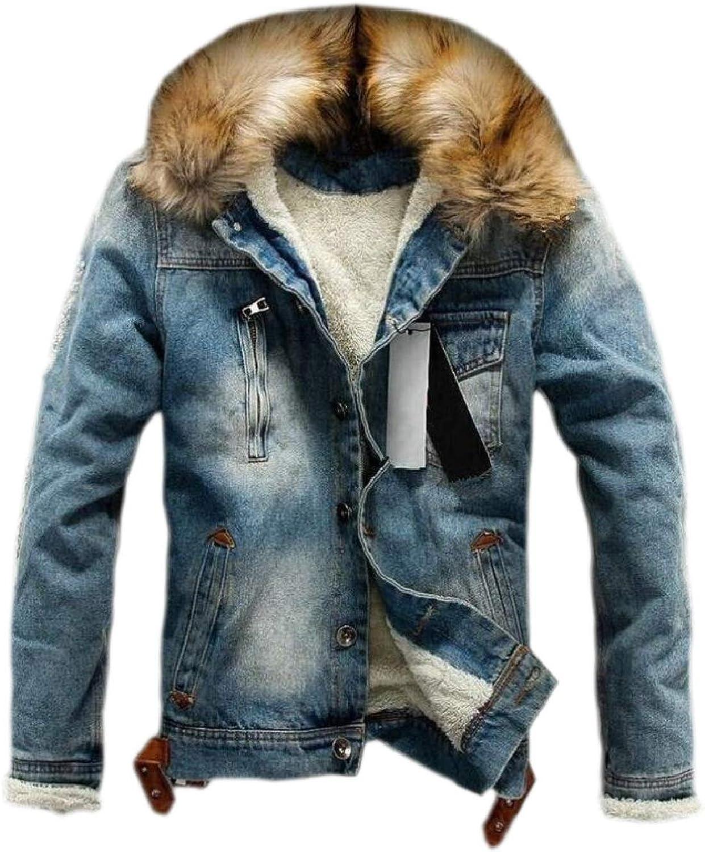 Tymhgt-CA Mens Warm Faux Fur Collar Casual Trucker Fleece Lined Coats Denim Coat