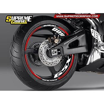 Blanco Brillante Motocicleta Moto Llanta Decal Accesorio Pegatinas para Suzuki GSX 750ES