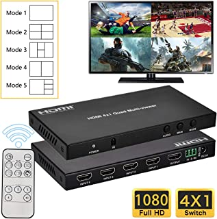 Iseebiz HDMI 4X1 Multi-Viewer, 4 in 1 out HDMI Switch, 1080P Screen Splitter, 5 Modes, with Audio Switch, RS232 for Engine...