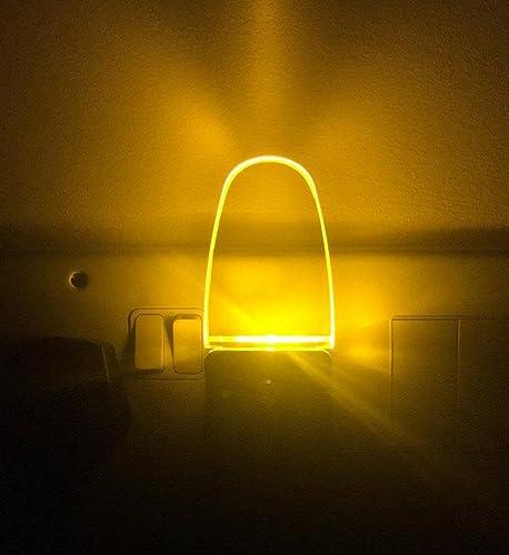 2 Pack LED Night Light Lamp with Dusk to Dawn Light Sensor (Yellow)