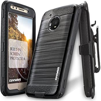 Timber Camo Moto E4 Plus Military Grade Certified Rugged Case - Accessory Bundle: Heavy Duty Bubble-Free Tempered Glass Screen Protector and Atom Cloth