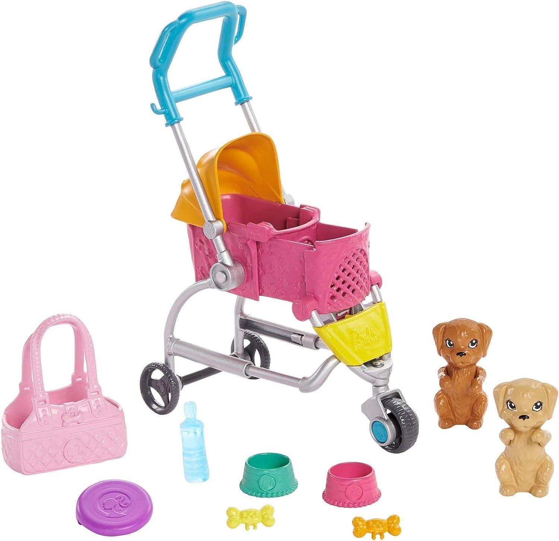 Barbie GHV92 - Barbie Hundebuggy Spielset mit Barbie-Puppe, 2 Hündchen und Buggy für die Hündchen, für Kinder ab 3 Jahren Brünett