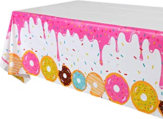 GGDE 1 Pcs Donut Dessert Theme Party Plastic Table Cover Birthday Party Decorations