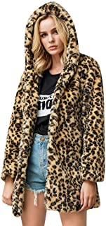Women Fashion Leopard Printed Faux Fur Outwear Cardigan Loose Hooded Pocket Coat Patchwork Long Sleeve Loose Jacket