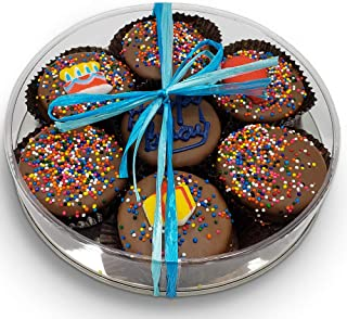 Happy Birthday Chocolate Dipped Oreo Cookies Gift | Olde Naples Hand Decorated Oreo Cookies | Gift Basket 7pc Oreo Cookies Assortment (Blue)