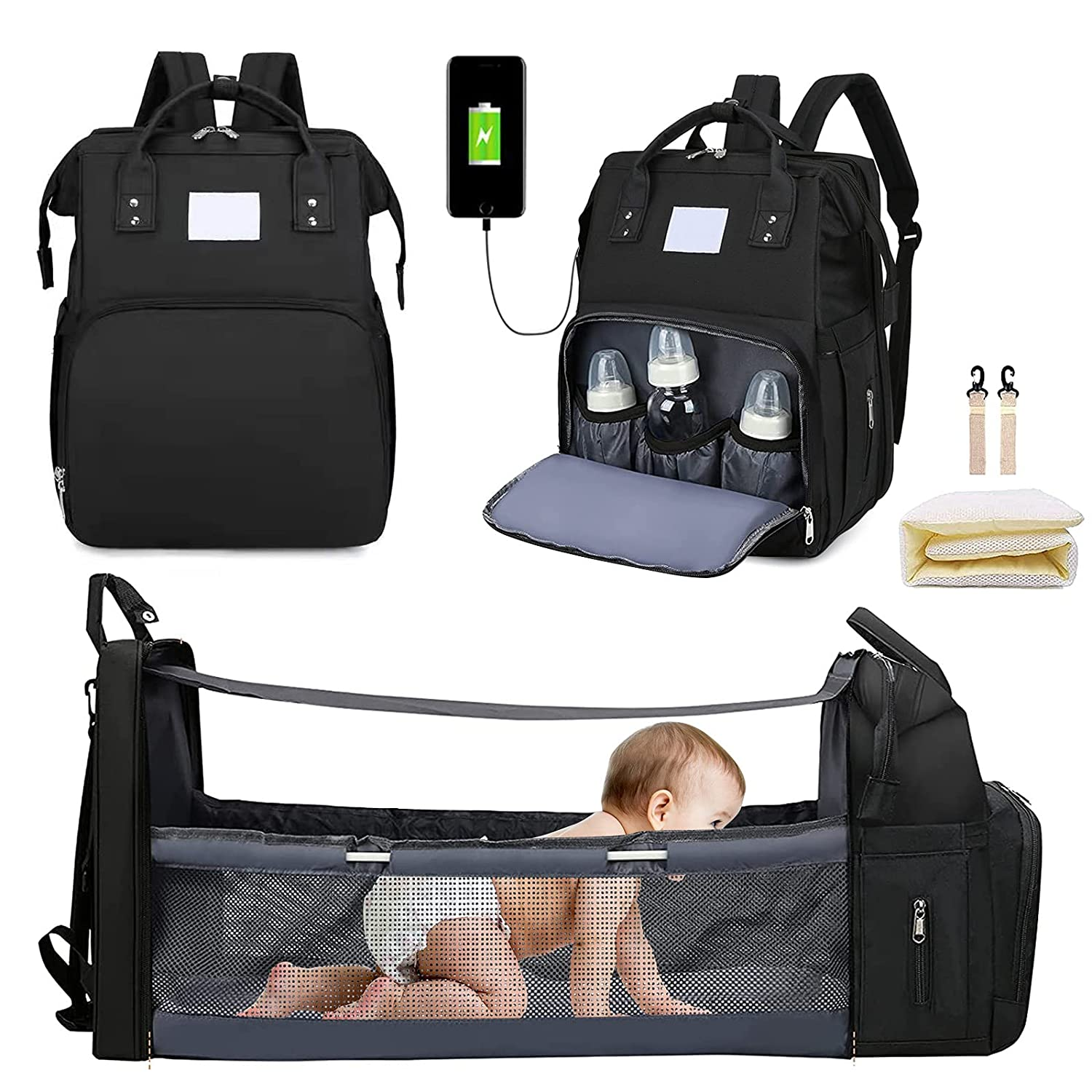 Diaper Bag Backpack, Diaper Bag with Changing Station, Baby Bed with USB Port, Diaper Bags for Baby Girl Boys, Waterproof Foldable Bassinet Baby Crib with Sunshade Stroller Straps (Black)