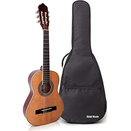 Classical Guitar with Soft Nylon Strings by Hola! Music, Half 1/2 Size 34 Inch for Junior Kids Model HG-34GLS, Natural Gloss Finish - FREE Padded Gig Bag Included