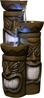 Alpine Corporation 3-Tier Tiki Head Water Fountain - Rustic Outdoor Waterfall for Garden, Patio, Deck, Porch - Yard Art Decor
