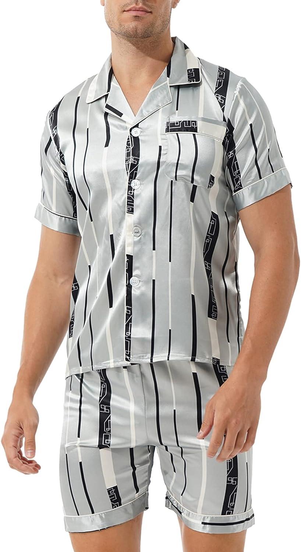Yanarno Men's 2 Piece Satin Pajamas Set Short Sleeve with Shorts Button-Down Sleepwear Loungwear