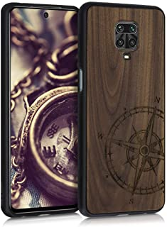kwmobile Case Compatible with Xiaomi Redmi Note 9S / 9 Pro / 9 Pro Max - Wood Case for Phone with TPU Bumper - Navigationa...