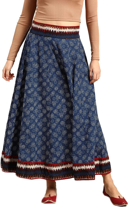 Pure Cotton Women Blue Dress Wide Leg Elastic Waist Flared Maxi Skirt