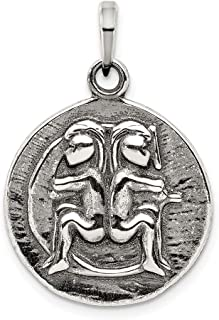 925 Sterling Silver Antique Finish Gemini Horoscope Pendant Charm Necklace Zodiac Fine Jewelry For Women