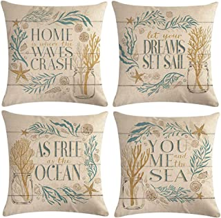 ULOVE LOVE YOURSELF Ocean Theme Throw Pillow Covers Waterweeds Conch Shell Starfish Cushion Covers Coastal Home Decorative Pillowcases 18 x 18 inches,4Pack(Waterweeds)