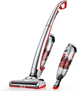 Vacuum Cleaner, Deik Cordless Vacuum, Stick Handheld Vacuum, 2 in 1 Lightweight Rechargeable Bagless with LED Light for Dark Corners and Washable Filteration for Carpets and Hard Floors, Rechargeable