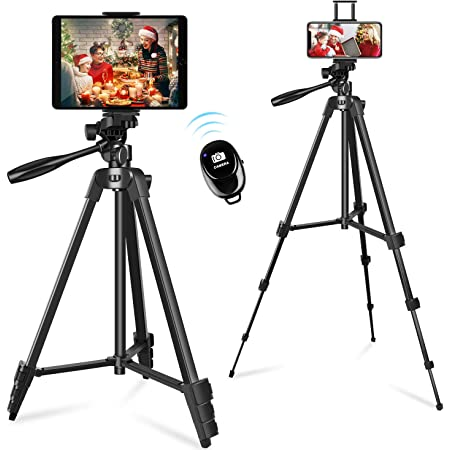 """55"""" Phone&Tablet Tripod, Portable Travel Tripod Stand with Remote Shutter and Universal Clip, Compatible with iPhone/iPad/Android/Sport Camera Perfect for Selfies/Video Recording/Vlog/Live Streaming"""