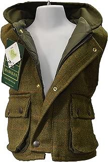 Walker & Hawkes - Kids Derby Tweed Gilet Shooting Hunting Country Waistcoat - Dark Sage