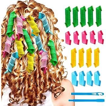 18 Piezas Conjunto de Rulos de Pelo,Rizador Pelo,Rulos para el Pelo,Rulos Flexibles,Rizadores mágicos para el cabello con gancho para peinar: Amazon.es: Belleza