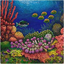 XiangHeFu Cena Servilletas de Tela Reutilizables de 20x20 Pulgadas Lavable Dibujos Animados Colorido Océano Coral Tabla de Peces Fácil de Limpiar Interior