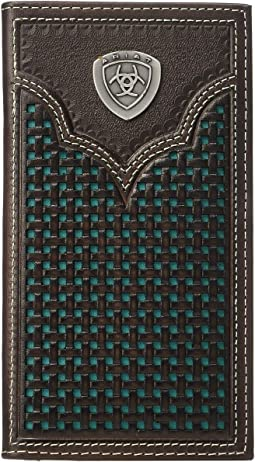 Ariat Shield Rodeo Wallet w/ Turquoise Basketweave Inlay