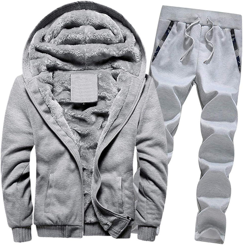Mens Warm Fleece Hoodies Pants Sets, Balakie Solid Zipper Sweater Sports Suits