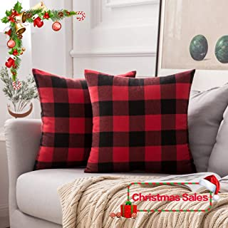 MIULEE Pack of 2 Christmas Classic Retro Checkers Plaids Cotton Linen Soft Solid Black and Red Decorative Throw Pillow Covers Home Decor Cushion Case for Sofa Bedroom Car 24 x 24 Inch 60 x 60 cm
