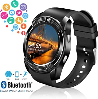 Smart Watch,Android Smartwatch Touch Screen Bluetooth Smart Watch for Android Phones Wrist Phone Watch with SIM Card Slot & Camera,Waterproof Sports Fitness Tracker Watch for Men Women Kids Black