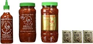 Huy Fong Sriracha 17oz + Chili Garlic Sauce 18oz+ Sambal Oelek 18oz Assorted Favorite Asian Sauces 3-Pack Exclusive Bundle Plus a Free Gift Instant Ginger Honey Crystals