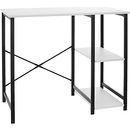 Amazon Basics Classic, Home Office Computer Desk With Shelves, White