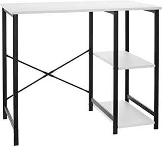AmazonBasics Classic Computer Desk With Shelves - White, BIFMA Certified