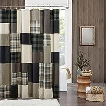 JLA Home INC Winter Hills Cotton, Plaid Lodge/Cabin Shower Curtains for Bathroom, 72 X 72, Tan