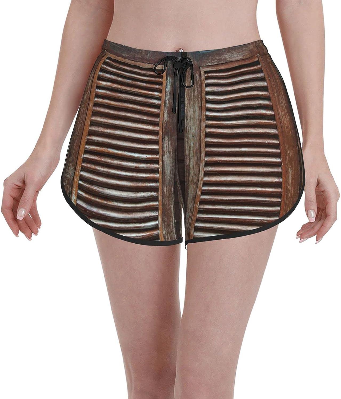 Minalo Women's Girl's Swim Trunks,Old Western Swinging Saloon Doors,Beachwear Swimsuits Board Shorts Bathing Suits,XL