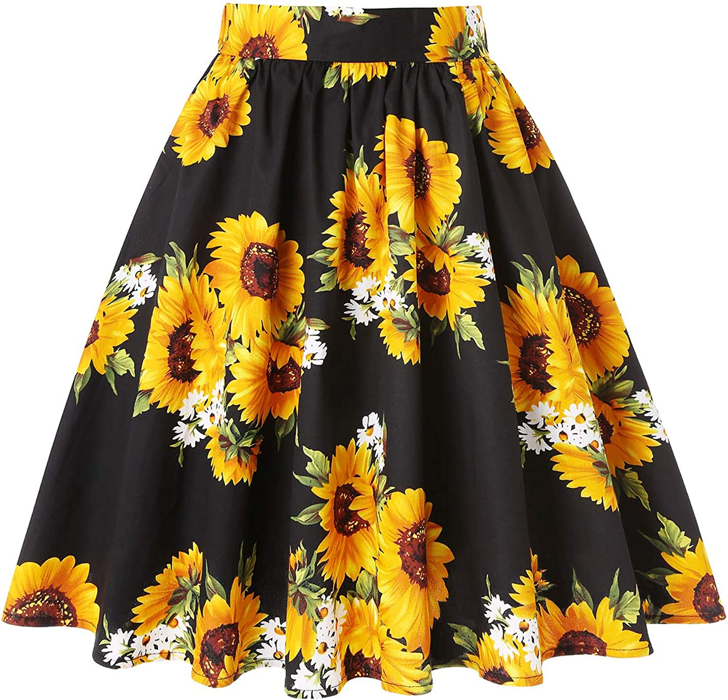 MINTLIMIT 1950's Vintage Pleated Skirt A-line Retro Floral Printed Midi Skirts with Pockets