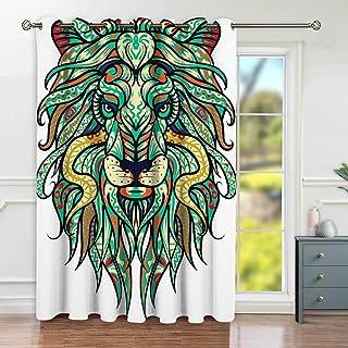 NDISTIN Tende Oscuranti,Abstract Lion Illustration Tattoo Design Leo Zodiac Sign,Camera Da Letto,Ristorante,Tenda,Vita Domestica,Decorazione
