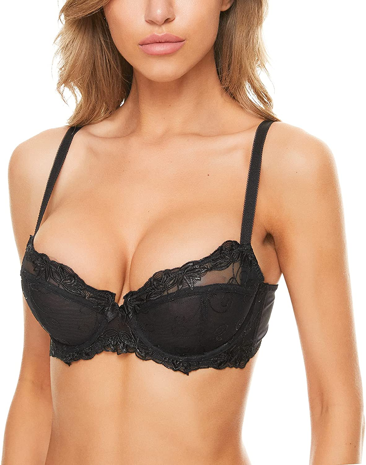 Wingslove Women's Sexy Lace Bra Non Padded Embroidered Unlined Underwire Balconette Bra Plus Size