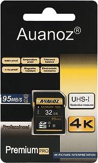 Tarjeta SD de 32 GB Auanoz SDHC Clase 10 UHS-I Tarjeta De Memoria De Alta Velocidad Para Teléfono Tableta y PC - Con Adaptador (SD Card-32gb)