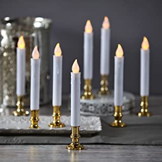 Flameless White LED Taper Candles with Gold Removable Candle Holders Remote & Batteries Included - Set of 8