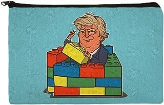President Trump Building Toy Wall Blocks Bricks USA America Makeup Cosmetic Bag Organizer Pouch